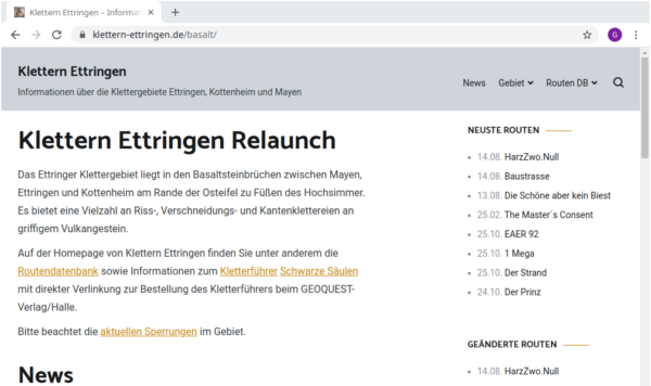 Klettern Ettringen Relaunch 2020